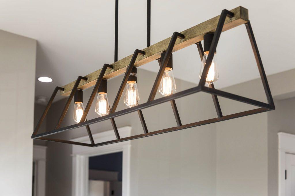Chandelier with 5 Edison light bulbs